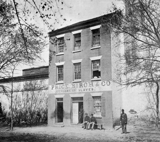 Price, Birch & Co., the successor of the slave trading firm of Franklin & Armfield. Civil War-period photograph by Capt. Andrew J. Russell. The building still stands at 1315 Duke Street, Alexandria.